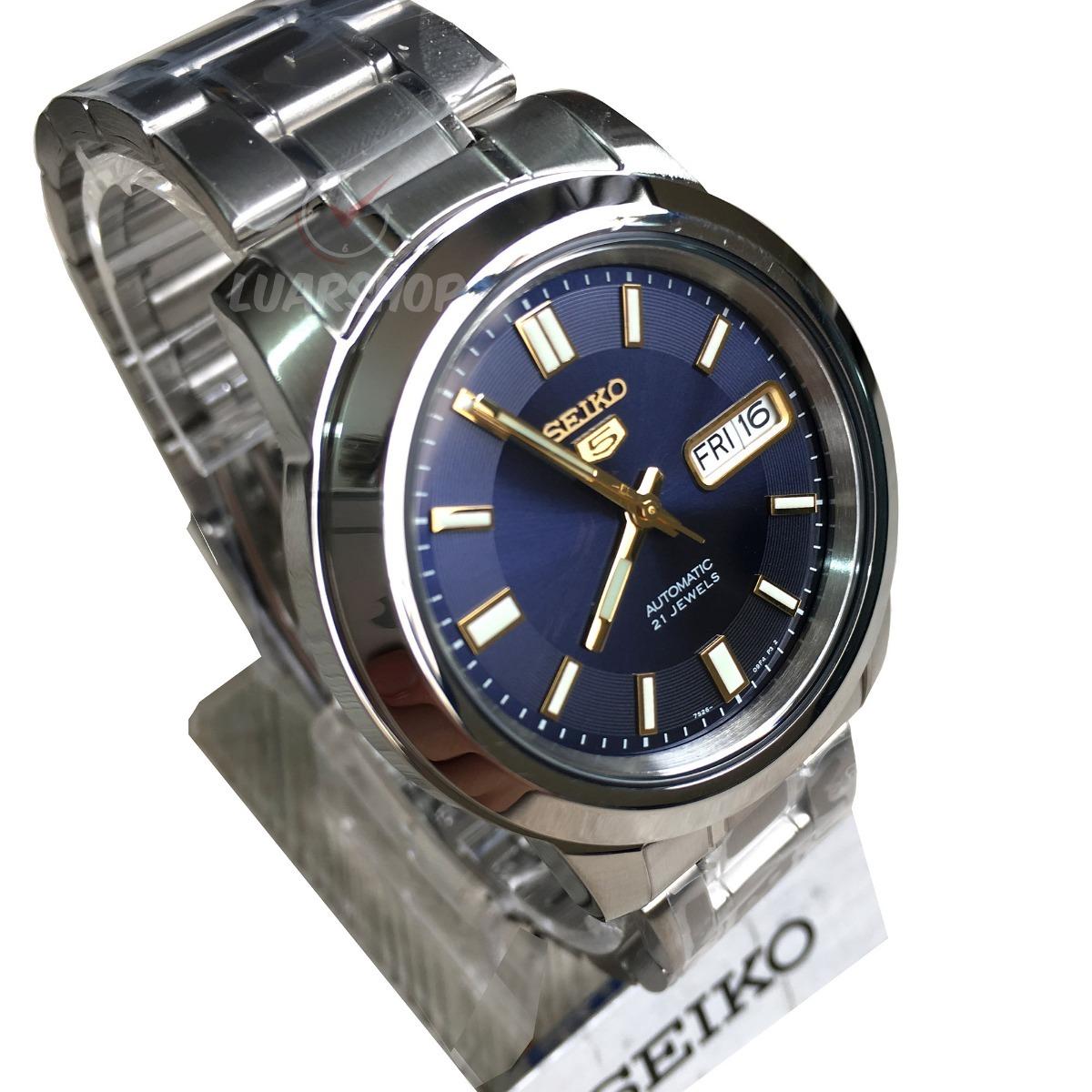 4c1d6cb812f relogio seiko 5 automatico masculino prata azul - original. Carregando zoom.