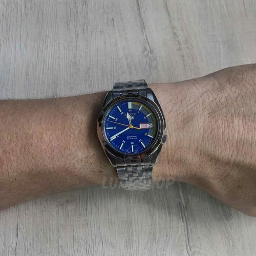 relogio seiko 5 automático masculino prata azul - original