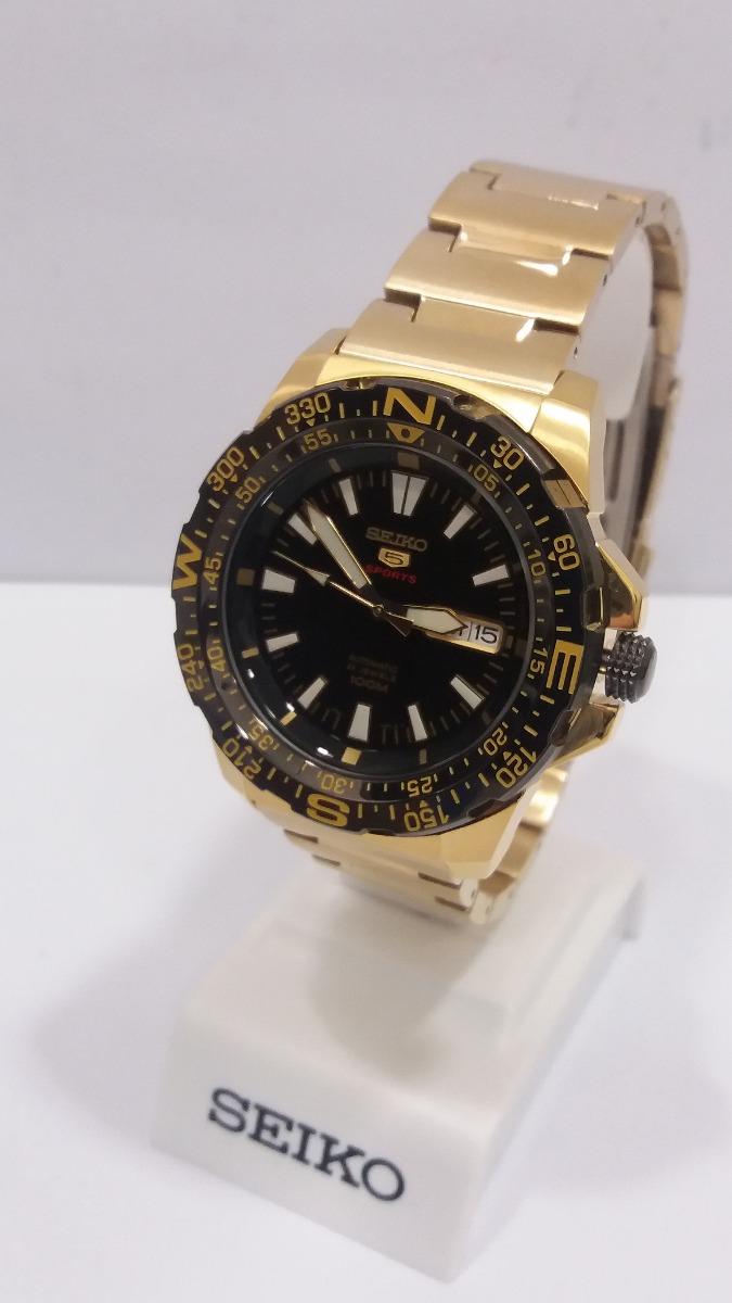 7ac56d742f2 relógio seiko 5 sports automatico dourado 10 metros + frete. Carregando  zoom.