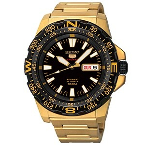 391ab8339b7 Relógio Seiko 5 Sports Automatico Dourado 10 Metros + Frete - R ...