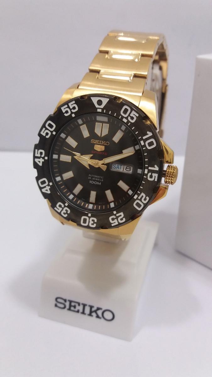 6c87f5a93bb relógio seiko 5 sports automatico dourado 4r36bh 1 + frete. Carregando zoom.
