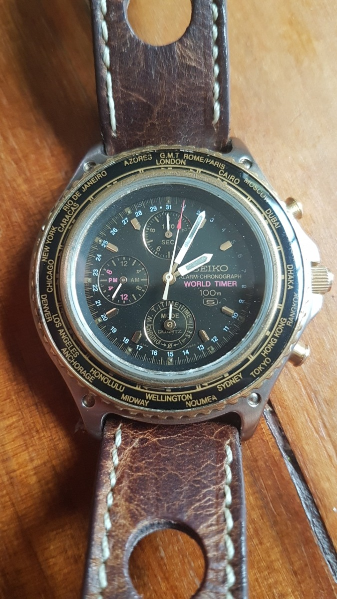 f7b88b18336 relógio seiko 5 world timer chronograph 100m - raríssimo. Carregando zoom.