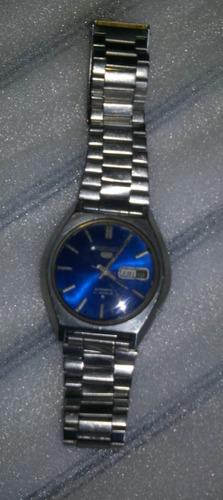 relógio seiko automático 6119 fundo azul funcionando bem