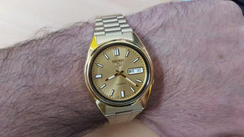 relógio seiko automático plaque ouro fundo dourado snxs80k