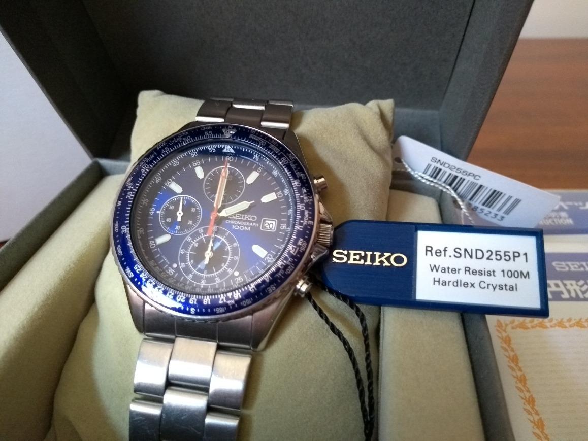 b8a1d1f44ed relógio seiko blue pilot flightmaster cronograph. Carregando zoom.