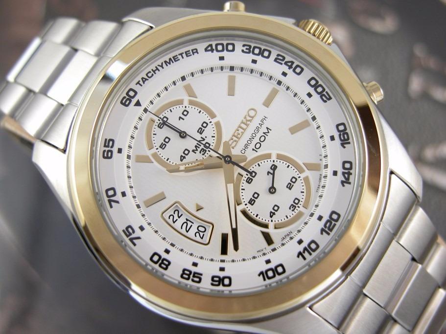 9951399dca7 Relógio Seiko Calendario Aço E Plaque Ouro Cronografo 7t94am - R ...