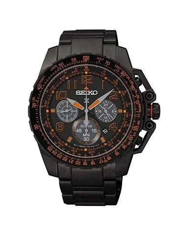 475e9db1334 Relógio Seiko Cronógrafo Solar Prospex Preto laranja Crono - R ...