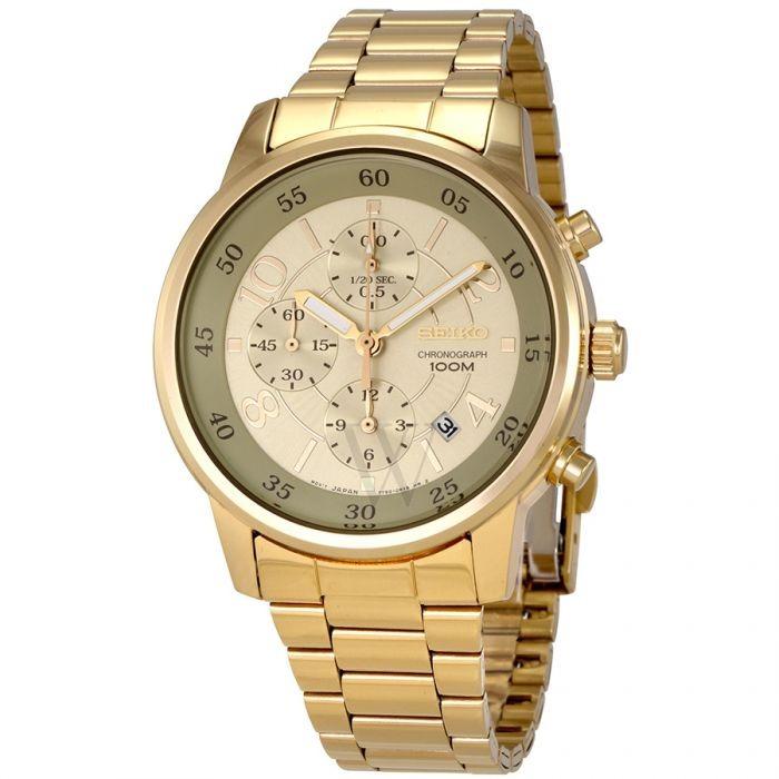 e23e3050366 Relógio Seiko Dourado Cronógrafo Quartzo Sndw84p1 - R  999