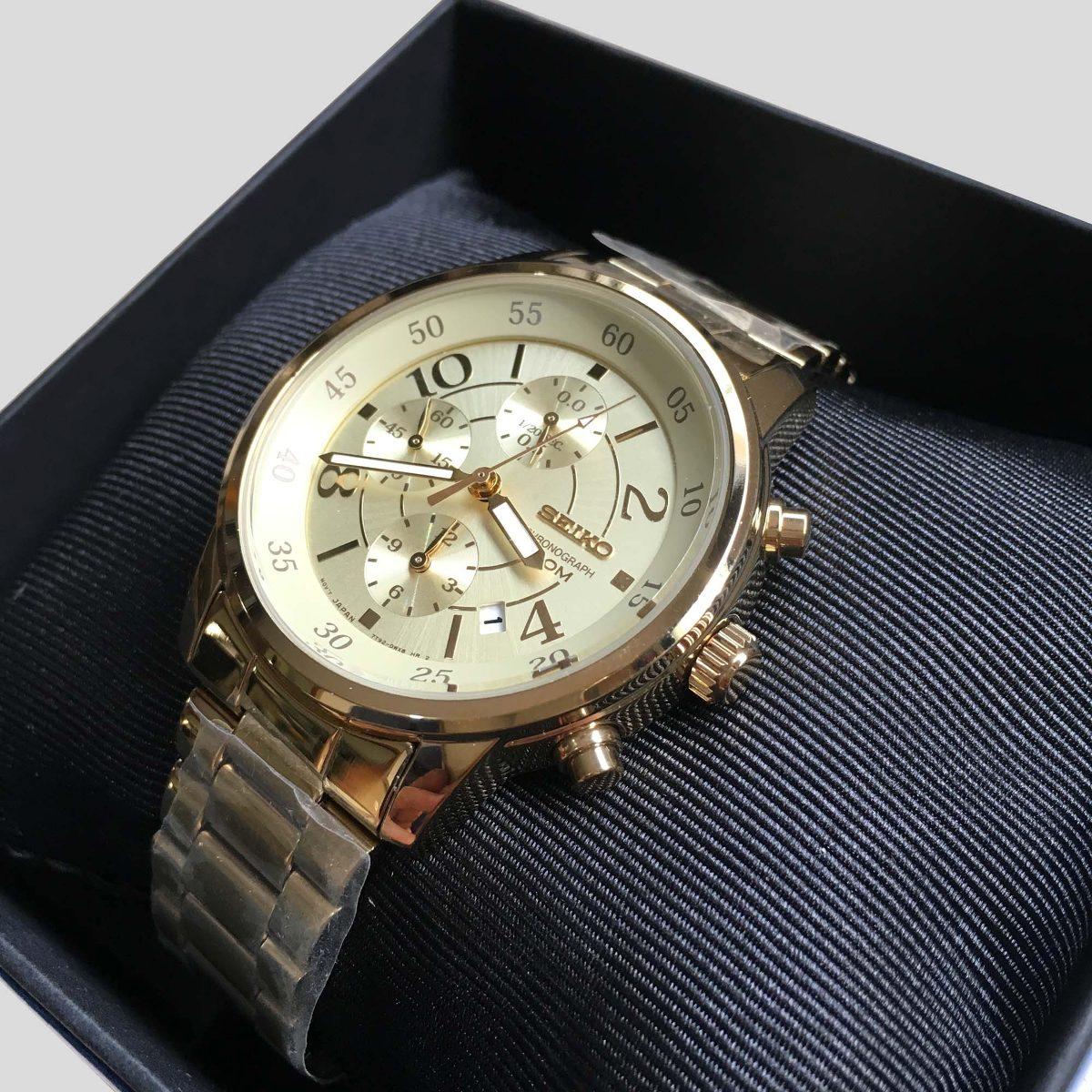029c46e6b8c relógio seiko dourado cronógrafo quartzo sndw84p1. Carregando zoom.
