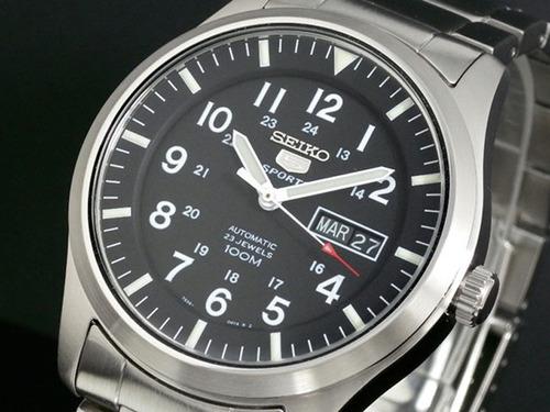 relógio seiko estilo militar automático aço grande snzg13k1