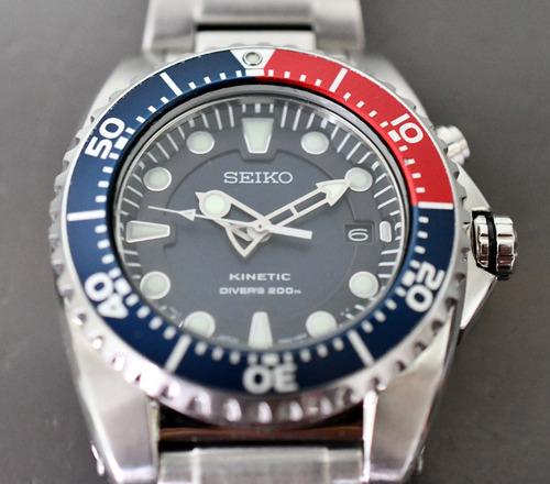relógio seiko kinetic diver - 5m62-0bl0 - top