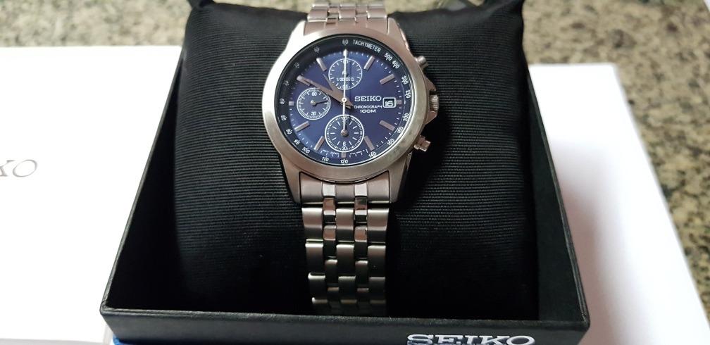 3fe81a5d20e relógio seiko masculino chronograph fundo azul 100m. Carregando zoom.