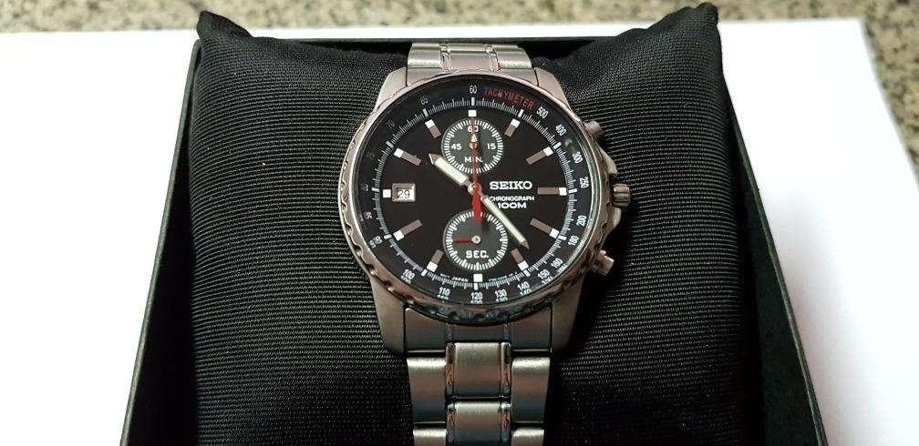 b35c4ed1ef6 relógio seiko masculino chronograph na caixa. Carregando zoom.