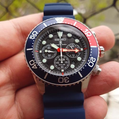 relógio seiko solar chrono padi ssc663 - diver + nato brinde