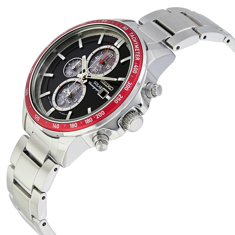 f3d41f09dac relógio seiko solar chronograph preto com vermelho ssc433p1. Carregando  zoom.