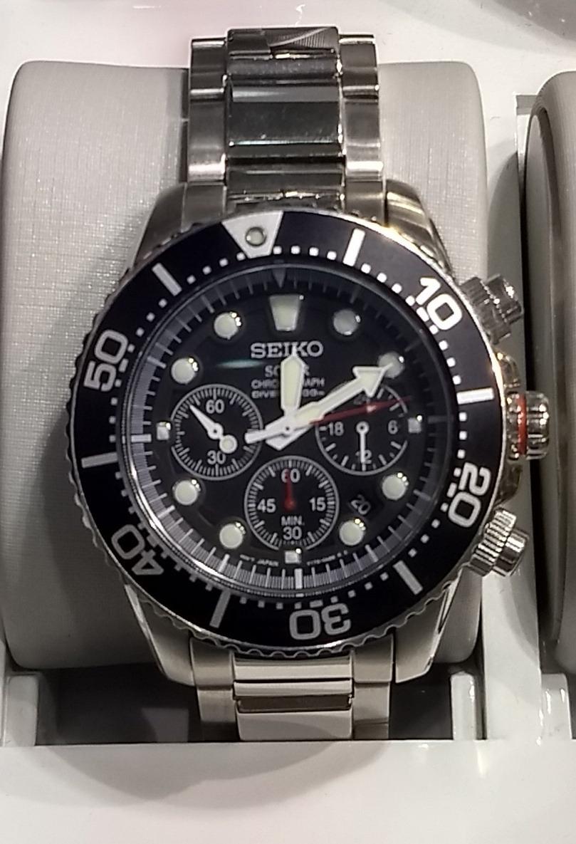 b6cf22897ab Relógio Seiko Solar Cronógrafo V175aa 1 Diver 200 Mts - R  1.499
