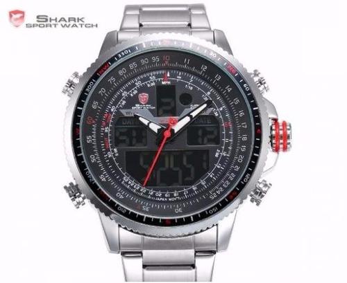 relógio shark aço preto dual time data alarme lcd digital