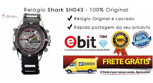 relogio shark esportivo porbeagle sh043 pronta entrega inox