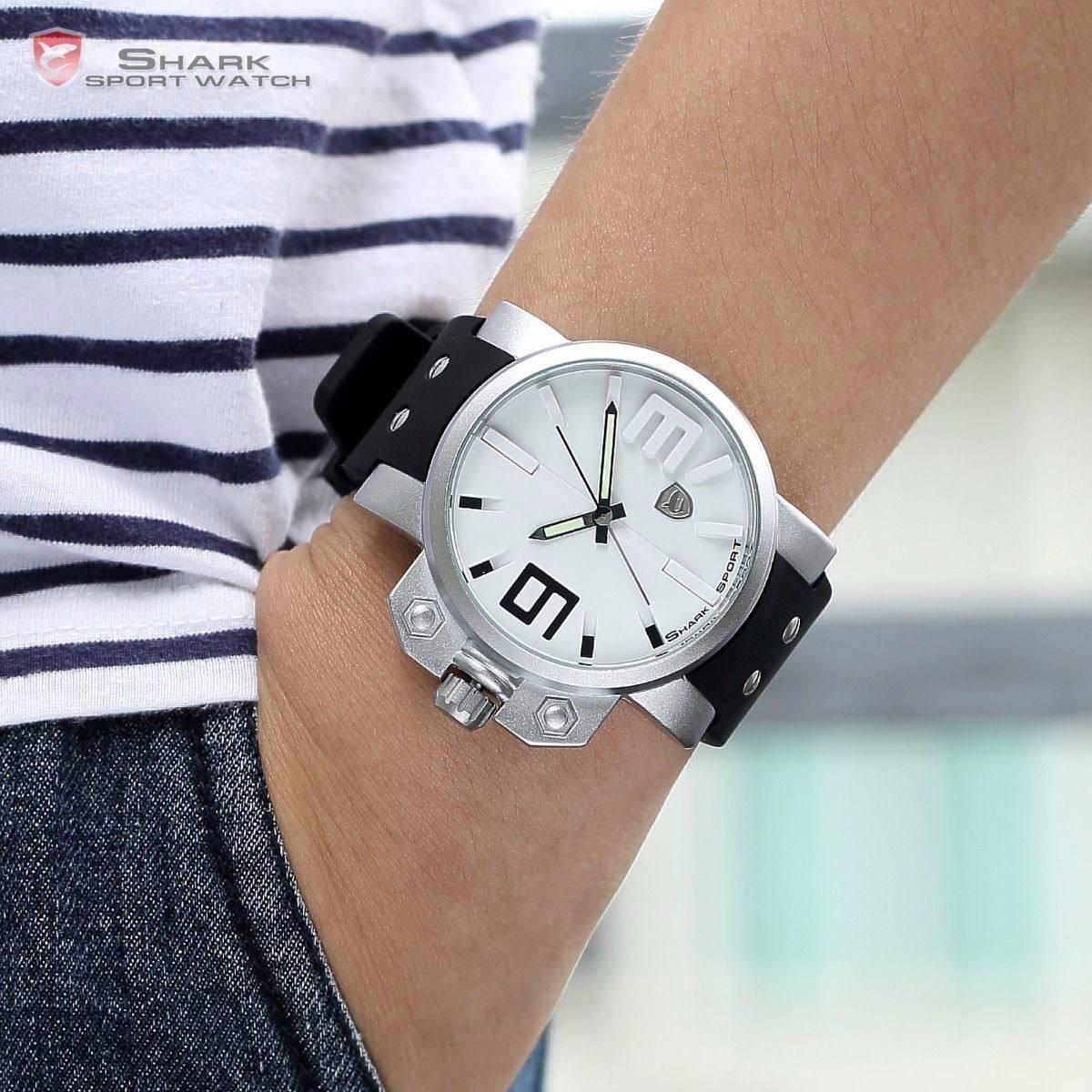 1d90f9bc679 relógio shark original n brasil branco preto sh169 oversized. Carregando  zoom.