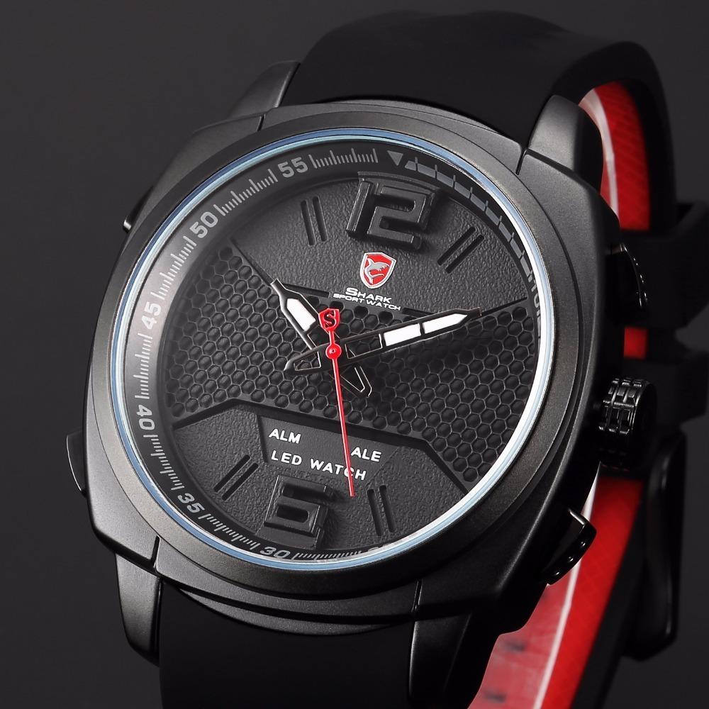 3c250b25c37 relógio shark original vermelho e preto. Carregando zoom.