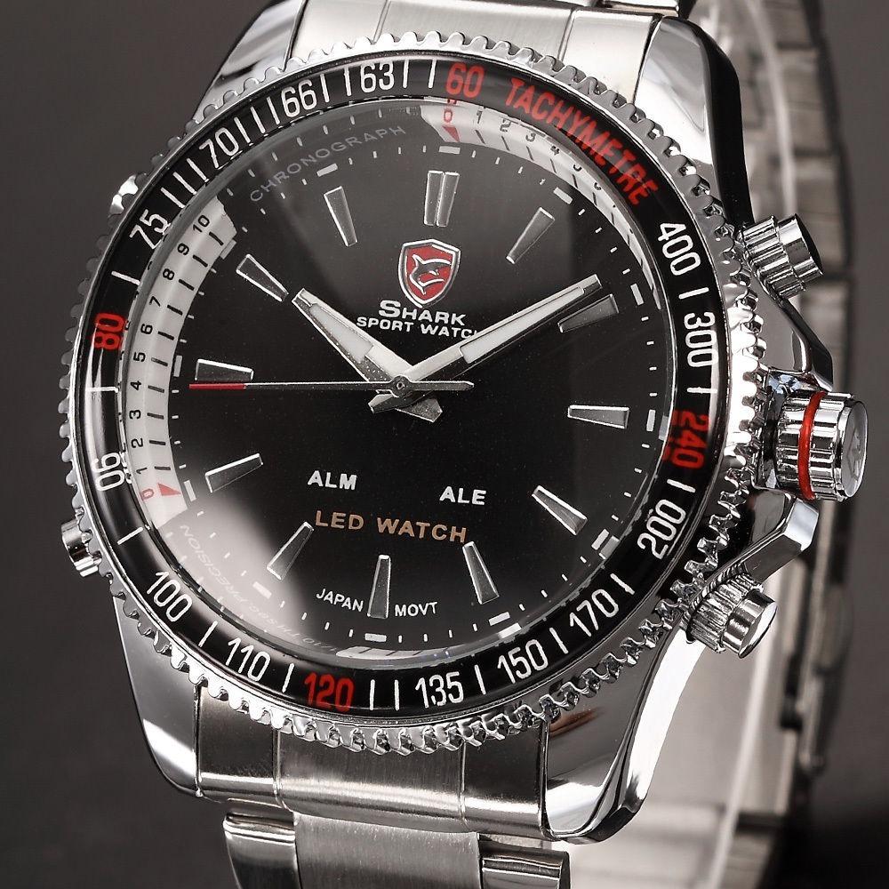 8be79e31e80 relógio shark prata e preto original. Carregando zoom.
