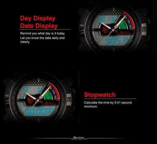 relógio shark sh178 pulseira silicone, mergulho, militar