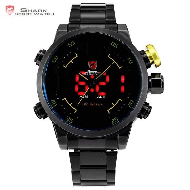 118d2131685 Relógio Shark Sport Analógico Com Led Amarelo preto Original - R  299