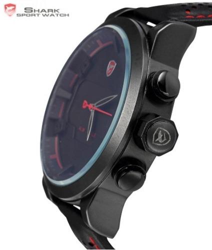 relógio shark sport modelo ds017l preto vermelho