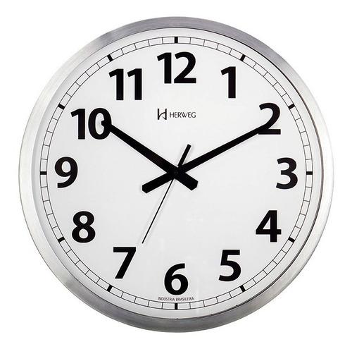 relógio silencioso parede 40cm branco alumínio herweg 6713s