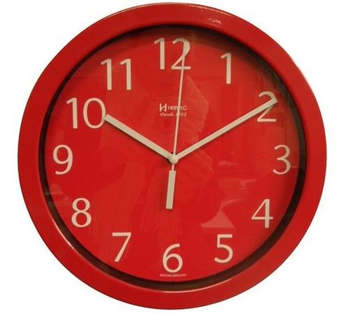 relógio silencioso parede alumíni 30cm vermelho herweg 6719s