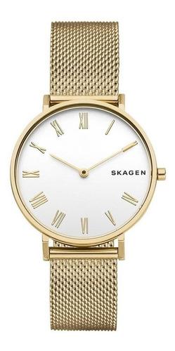 relógio skagen feminino ref: skw2713/1dn slim dourado
