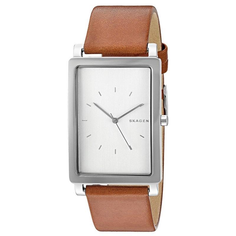 Relógio Skagen Hagen Rectangular Leather Watch - R  1.399,00 em Mercado  Livre 01be43ba49