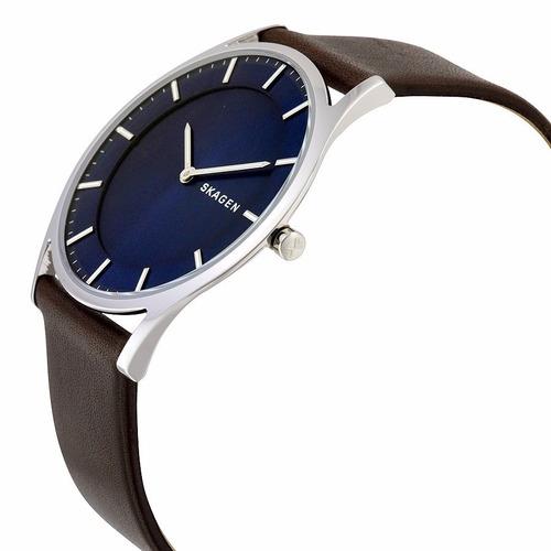 relógio skagen masculino skw6237 azul couro - nota fiscal