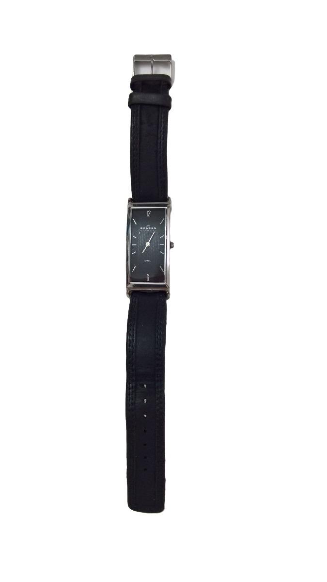 4f6caea96890f relogio skagen retangular importado pulseira couro preto. Carregando zoom.