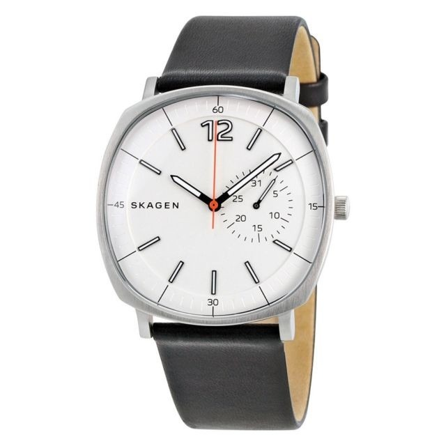 8e874a9b0956b Relógio Skagen Rungsted White Dial Black Leather Men s - R  1.269