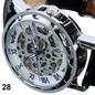 relógio skeleton pulseira couro preto masculino envio rápido
