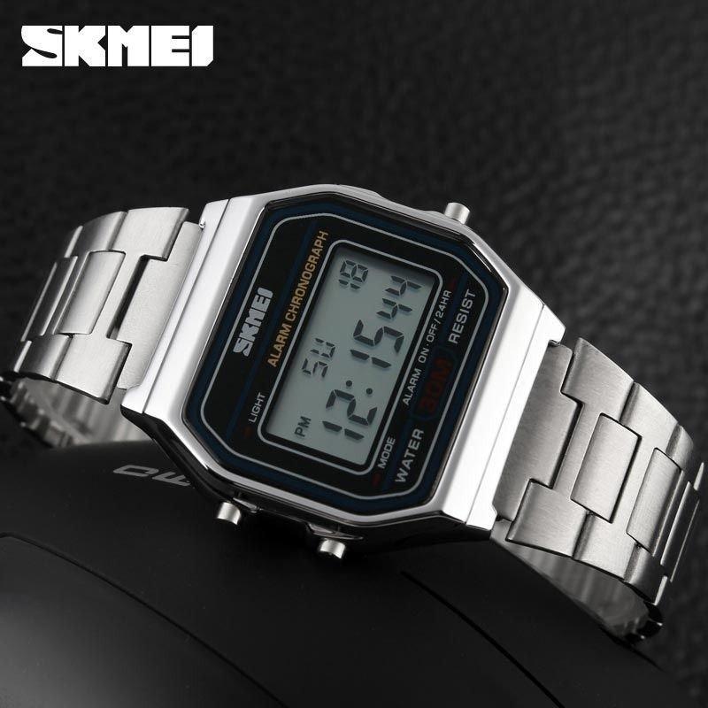 726fa80b42d relógio skmei 1123 digital - prata promoção + brinde. Carregando zoom.
