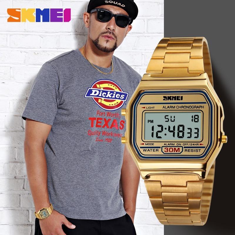 2227836b19c relógio skmei 1123 led digital esportivo masculino dourado. Carregando zoom.