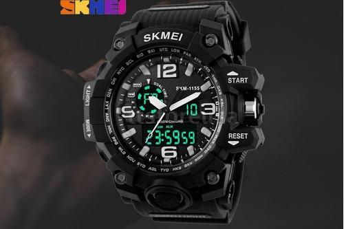relógio skmei 1155 dual time 5atm prova d'água