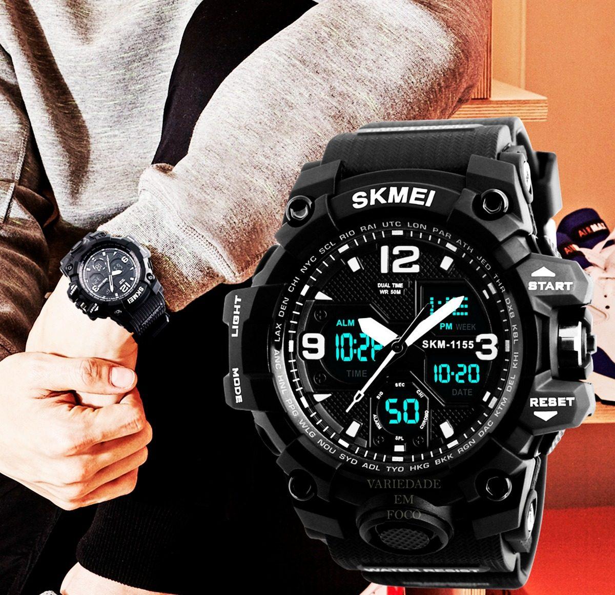6b4e2543975 relógio skmei 1155 original preto prova d´água. Carregando zoom.