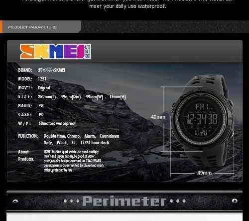 relógio skmei 1251 esportes mergulho 50m digital led pulso