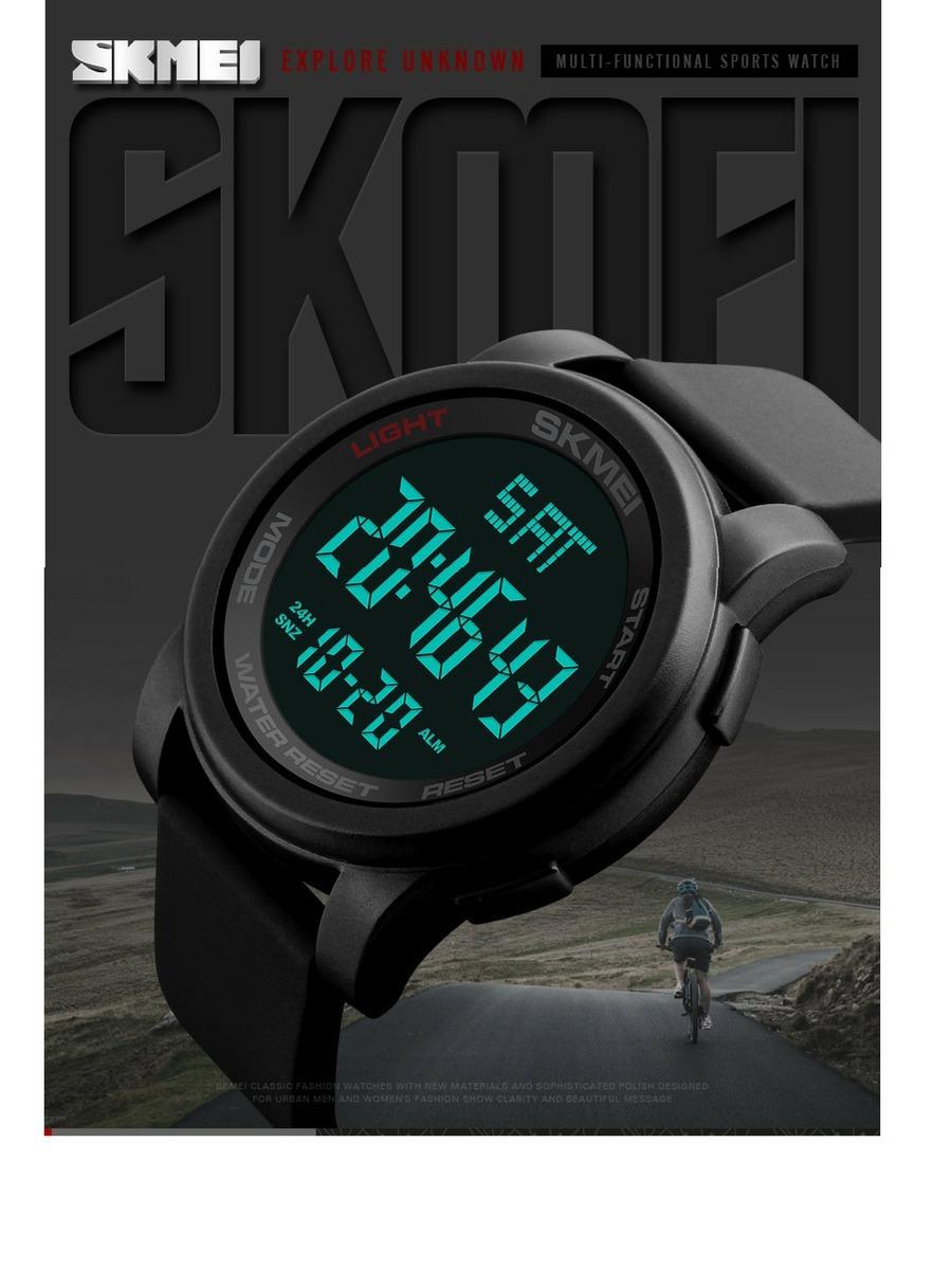 bbe3d71ee70 relógio skmei 1257 preto digital 50mts led original promoção. Carregando  zoom.