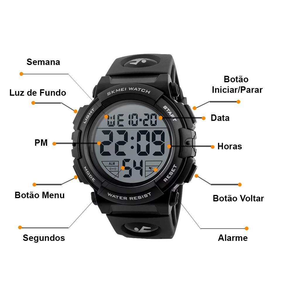 e035380e1f7 Relógio Skmei 1258 Masculino Esportivo Digital Black - R  89