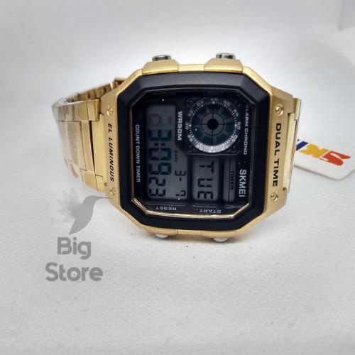 relógio skmei 1335 dourado importado retrô não descasca top