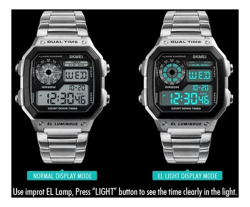 relógio skmei 1335 illuminator digital dual time retrô