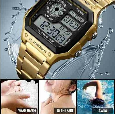 7bb229341c5 Relógio Skmei 1335 Masculino Digital Dourado Compre Já - R  69