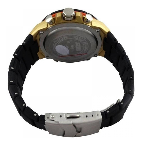 relógio skmei anadigi  1016 preto e dourado