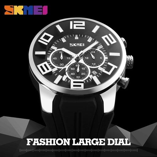relógio skmei análogo grande original preto - em estoque