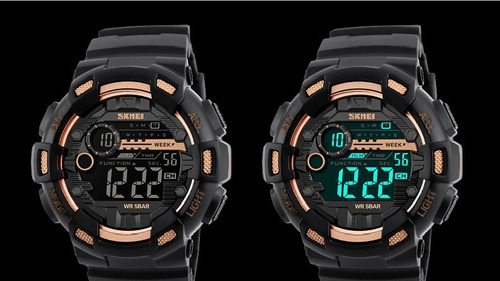 relógio skmei digital masculino dourado