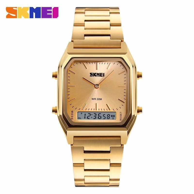 934ed66139f relógio skmei dourado retrô vintage estilo casio. Carregando zoom.